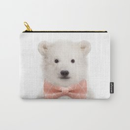 Baby Polar Bear With Bow Tie, Baby Animals Art Print By Synplus Carry-All Pouch