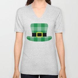 Kids St Patricks Day Buffalo Plaid Leprechaun Hat with Buckle Unisex V-Neck