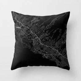 Honolulu Black Map Throw Pillow