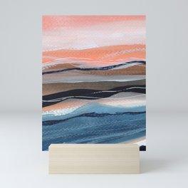 Modern watercolour landscape seaside Mini Art Print