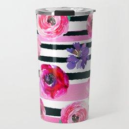 Bold Stripes and Florals Travel Mug