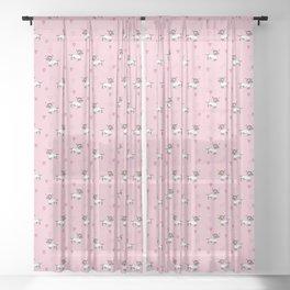 Cute Dachshund Unicorn + Hearts Pattern (Pink) Sheer Curtain