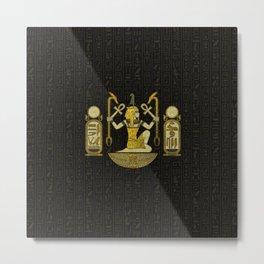 Egyptian Ornament Gold on black with hieroglyphs Metal Print