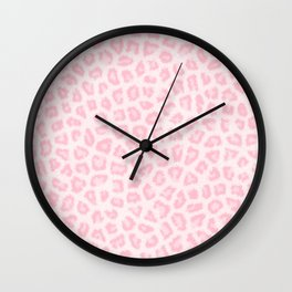 Girly blush pink white abstract animal print Wall Clock