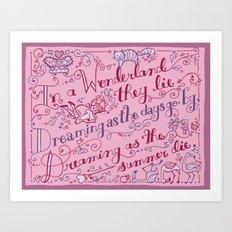 Of Alice in Wonderland, Stanza 6 Art Print