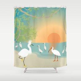 Egrets on a Sunset Beach Shower Curtain
