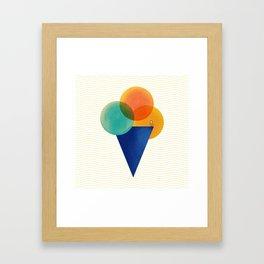 045 Ice cream sitting on the beach Framed Art Print