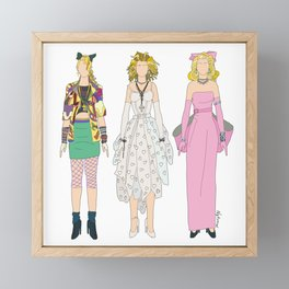 Triple Madge Material Girl Framed Mini Art Print