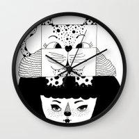 mew Wall Clocks featuring mew by Jen Lin Aliaga