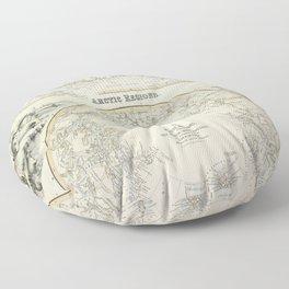 Map Of The Arctic 1856 Floor Pillow
