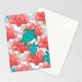 Sea Turtles in The Coral - Ocean Beach Marine Stationery Cards