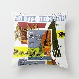 Vintage South Dakota Travel Throw Pillow