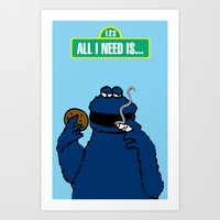 cookie monster Art Prints featuring Cookie Monster by M.REYES