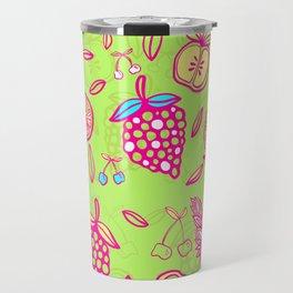 Tropicana on lime green Travel Mug