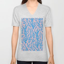 Pastel Pink and Blue Leaves Gouache Pattern Unisex V-Neck