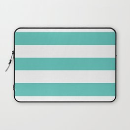 Bayside - solid color - white stripes pattern Laptop Sleeve