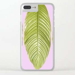 Three large green leaves on a pink background - vivid colors Clear iPhone Case