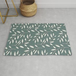 Leaves in Dark Turquoise and White Rug
