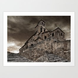 Achromatic Landscape with Chapel Art Print