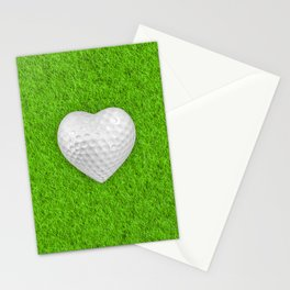 Golf ball heart / 3D render of heart shaped golf ball Stationery Cards