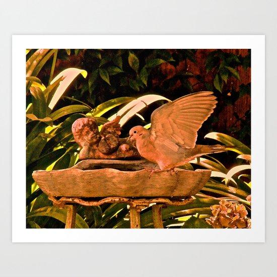 playing in the birdbath Art Print