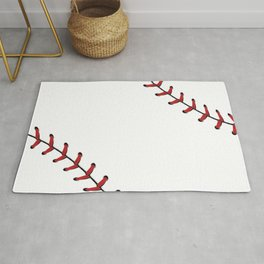 Softball Baseball design red laces Rug