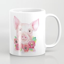 Piglet with Flowers 3 Watercolor Coffee Mug