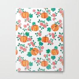 Pumpkins and Roses Metal Print