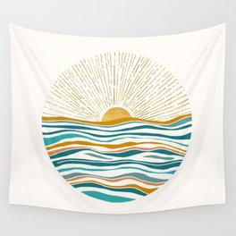 The Sun and The Sea - Gold and Teal Wall Tapestry