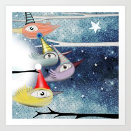 Birds following the stars Art Print
