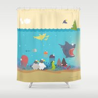 What's going on at the sea? Kids collection Shower Curtain