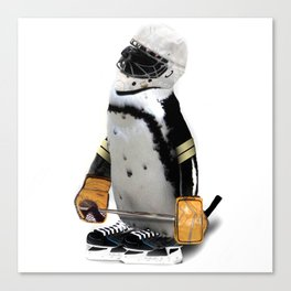 Little Mascot Hockey Player Penguin Canvas Print