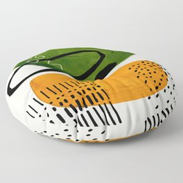 Mid Century Modern Abstract Colorful Art Patterns Olive Green Yellow Ochre Orbit Geometric Objects Floor Pillow