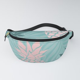Tropical Pineapple and Palm Leaf Pattern, Teal and Pink Fanny Pack