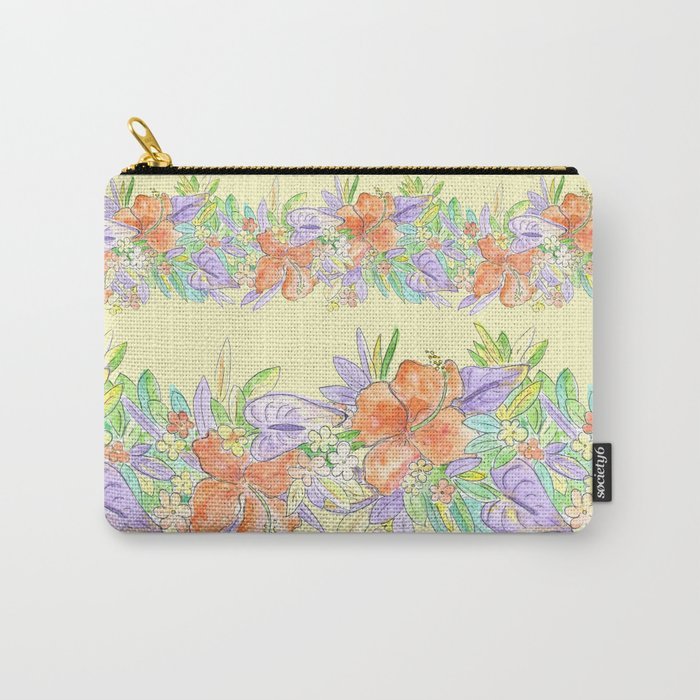hawaiian tropical flowers yellow Carry-All Pouch