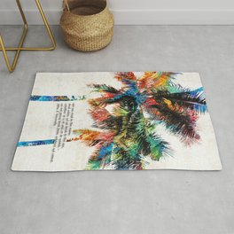 Colorful Palm Trees - Returning Home - By Sharon Cummings Rug