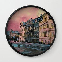 Sunset in Bergen Wall Clock