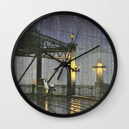 Kawase Hasui - Twenty Views Of Tokyo, Shinohashi Bridge - Digital Remastered Edition Wall Clock