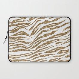 White & Glitter Animal Print Pattern Laptop Sleeve