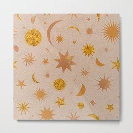 Celestial Sky in Golden Cork Metal Print