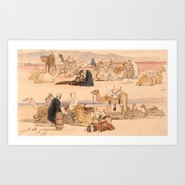 Edward Lear - Near Suez, 1 pm, 16 January 1849 Art Print