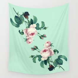 Roses Mint Green + Pink Wall Tapestry