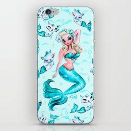 Pinup Mermaid with Merkittens iPhone Skin