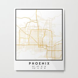PHOENIX ARIZONA CITY STREET MAP ART Metal Print