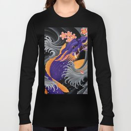 Purple Dragonkoi with Sakura Long Sleeve T-shirt