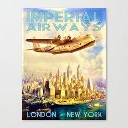 Vintage Imperial Airways New York City Advertisement Art Canvas Print