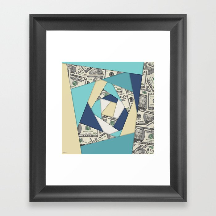 Colorful Currency Collage Framed Art Print