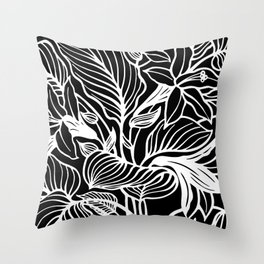 Black White Floral Minimalist Throw Pillow