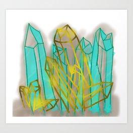 Crystals - Cyan Art Print