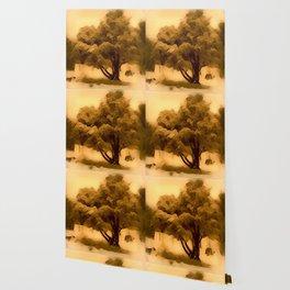 Sepia Juniper Tree by CheyAnne Sexton Wallpaper
